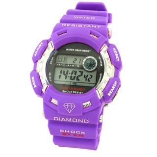 Purple Rubber Diamond 1/10ct Watch