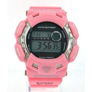 Pink Rubber Diamond 1/10ct Watch