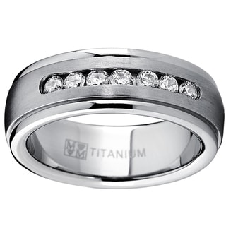 Oliveti Men's Dome Titanium Cubic Zirconia Comfort Fit Wedding Band