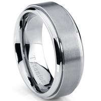 Oliveti Men's Brushed Titanium Beveled Edge Comfort Fit Wedding Band (7 mm)
