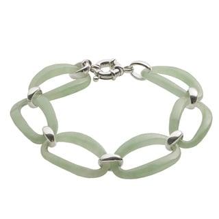 Gems For You Sterling Silver 8-inch Jade Link Bracelet