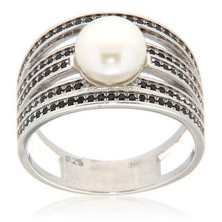 White Freshwater Pearl Black Spinel Sterling Silver Ring for Women (2 options available)