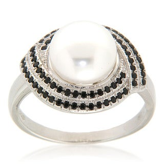 White Freshwater Pearl Black Spinel Sterling Silver Ring For Womens