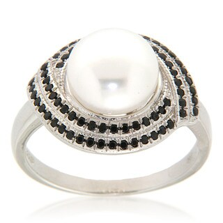 Pearlz Ocean White Freshwater Pearl and Black Spinel Sterling Silver Ring (9-10 mm) Jewelry for Womens