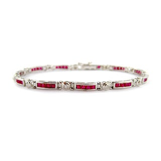 Kabella Mod Vintage 14k Gold 1/6ct TDW Diamond Princess-cut Ruby Estate Bracelet
