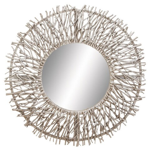 Pine Canopy Gazania Decorative Metal/ Wood Round Mirror