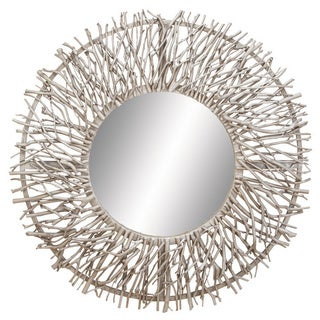 Pine Canopy Gazania Decorative Metal/Wood Round Mirror