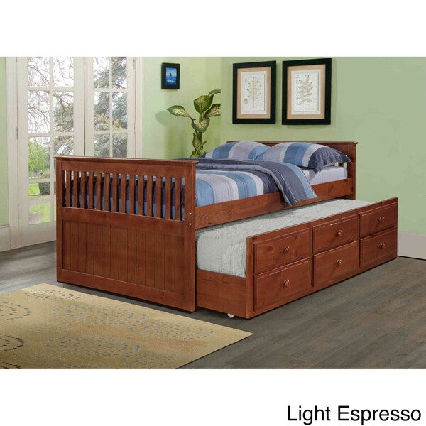 shop donco kids mission captains full bed with twin trundle on sale free shipping today. Black Bedroom Furniture Sets. Home Design Ideas