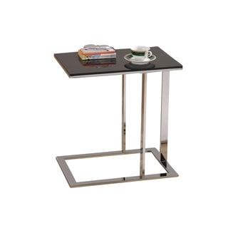 Modern Chrome/ Black Glass Accent Table