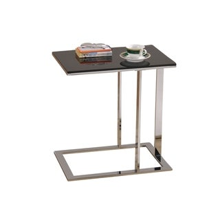 Modern Chrome/ Black Glass Accent Table