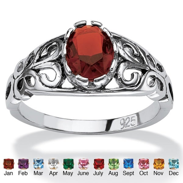 Oval-Cut Birthstone Scroll Ring in Sterling Silver Color Fun. Opens flyout.
