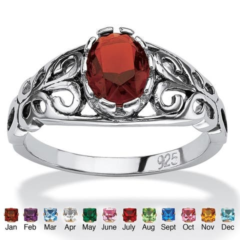 Oval-Cut Birthstone Scroll Ring in Sterling Silver Color Fun