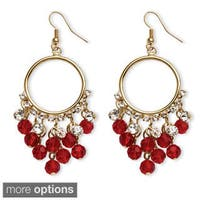 Birthstone Chandelier Earrings with Crystal Accents in Yellow Gold Tone Color Fun