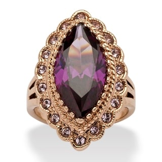 PalmBeach 7.94 TCW Marquise-Cut Purple Cubic Zirconia Cocktail Ring in Rose Ion-Plated Color Fun
