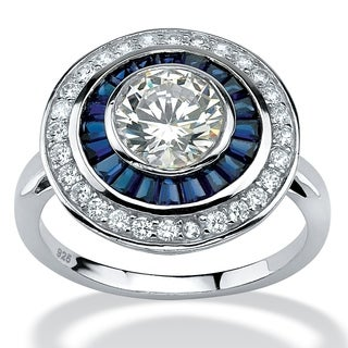 PalmBeach 3.26 TCW Round Cubic Zirconia and Sapphire Art Deco-Inspired Ring in Platinum over Sterling Silver Glam CZ