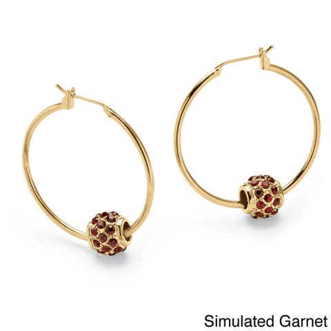 Birthstone Bead Hoop Earrings in Yellow Gold Tone Color Fun