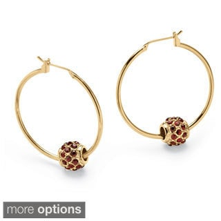 PalmBeach Birthstone Bead Hoop Earrings in Yellow Gold Tone Color Fun
