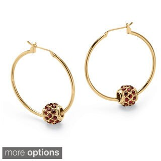 Birthstone Bead Hoop Earrings in Yellow Gold Tone Color Fun