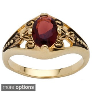 Antiqued 18k Gold-Plated Oval Birthstone Filigree Ring