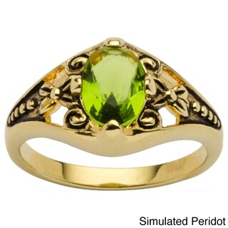 Antiqued Gold Plated Oval Birthstone Filigree Ring (More options available)