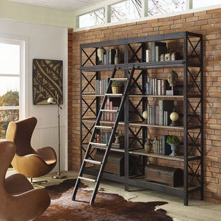 Headway Brown Modern Industrial Wood/ Metal Shelving Unit