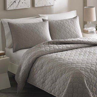City Scene Moroccan Medallion Stone Grey Cotton 3-piece Quilt Set