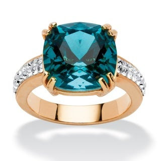 Cushion-Cut Denim Blue Crystal Ring MADE WITH SWAROVSKI ELEMENTS in Yellow Gold Tone Color