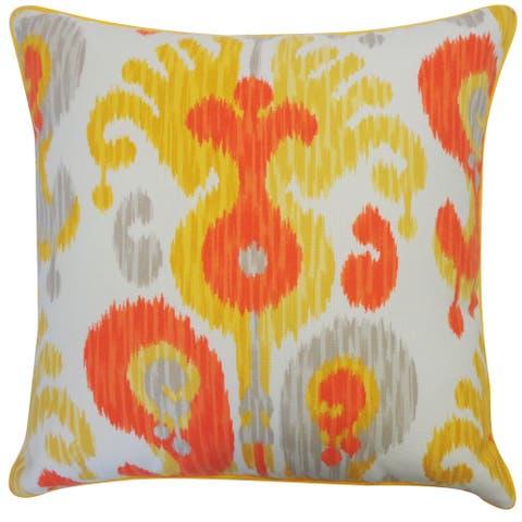 Jiti Orange Arlekin Ikat Southwestern Sunbrella Outdoor Pillow - 24 x 24