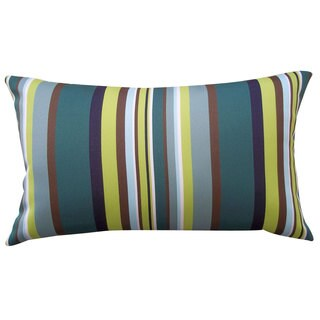 Aloe Stripe Teal Outdoor Throw Pillow