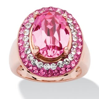 PalmBeach Oval-Cut Rose Crystal Cockail Ring MADE WITH SWAROVSKI ELEMENTS in Rose Gold-Plated Color Fun