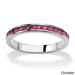 Sterling Silver Round Birthstone Stackable Eternity Band (More options available)