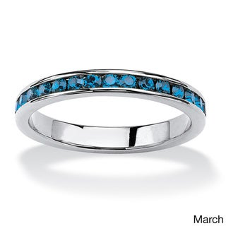 Sterling Silver Round Birthstone Stackable Eternity Band