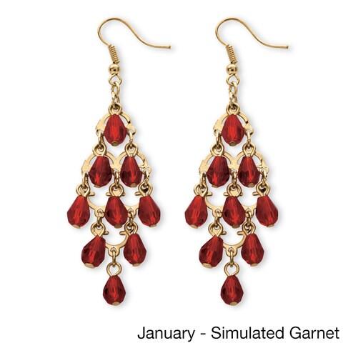 Goldtone Brass Pear-Cut Crystal Chandelier Earrings