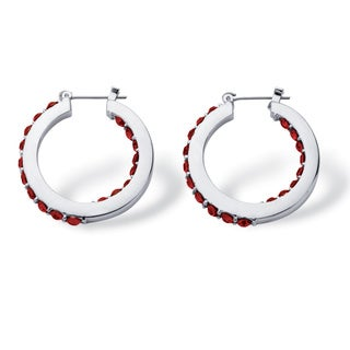 Birthstone Inside- Out Hoop Earrings in Silvertone Color Fun