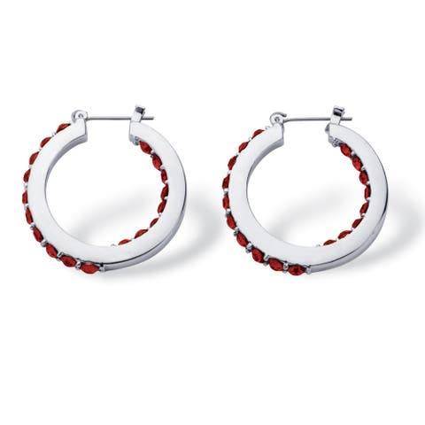 Silver Tone Hoop Earrings (30mm) Round Simulated Birthstones