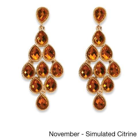 Yellow Gold Birthstone Chandelier Earrings