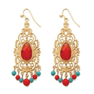 Red Crystal Scrollwork Chandelier Earrings in Yellow Gold Tone Bold Fashion