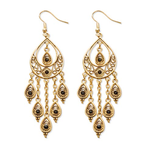 Black Crystal Teardrop and Chain Chandelier Earrings in Yellow Gold Tone Bold Fashion