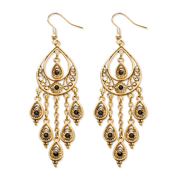 Black crystal teardrop and chain chandelier earrings in yellow black crystal teardrop and chain chandelier earrings in yellow gold tone bold fashion mozeypictures Image collections