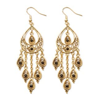 Black Crystal Teardrop and Chain Chandelier Earrings in Yellow Gold Tone Bold Fashion|https://ak1.ostkcdn.com/images/products/9164451/Lillith-Star-Black-Crystal-Chandelier-Earrings-P16342330.jpg?impolicy=medium