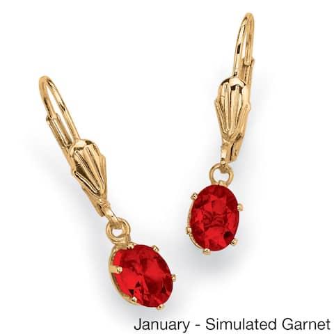 Oval-Cut Birthstone Drop Earrings in Yellow Gold Tone Color Fun