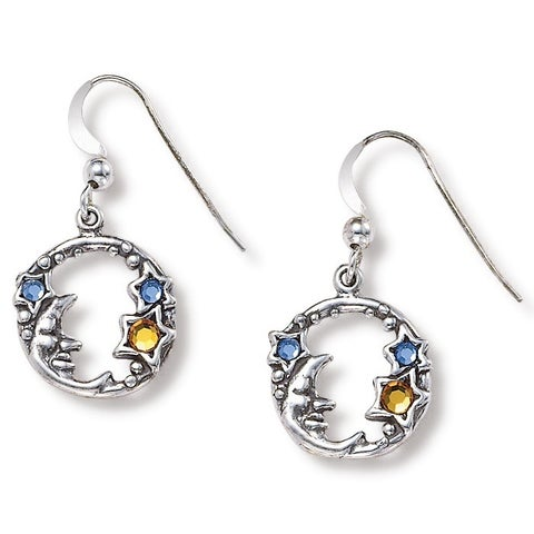 Round Crystal Sterling Silver Antique-Finish Moon and Stars Drop Earrings Color Fun