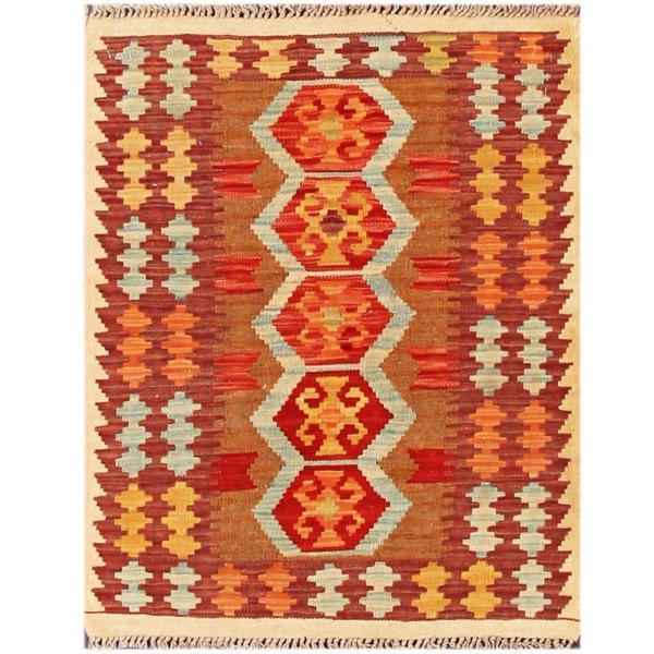 Herat Oriental Afghan Hand-woven Tribal Kilim Brown/ Maroon Wool Rug (2'4 x 2'10)