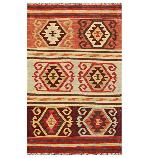 Handmade Herat Oriental Afghan Tribal Wool Kilim (Afghanistan) - 3'1 x 4'10