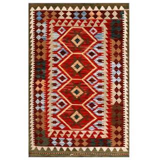 Herat Oriental Afghan Hand-woven Tribal Kilim Red/ Light Blue Wool Rug (3'3 x 4'10)