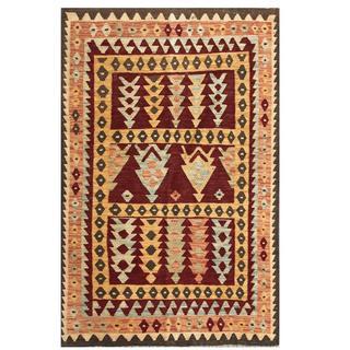 Herat Oriental Afghan Hand-woven Tribal Kilim Brown/ Salmon Wool Rug (3'10 x 5'10)
