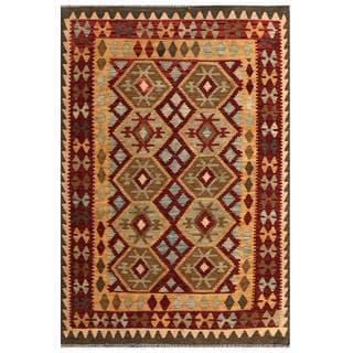 Herat Oriental Afghan Hand-woven Tribal Wool Kilim (4'3 x 6'1)