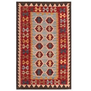 Herat Oriental Afghan Hand-woven Tribal Wool Kilim (3' x 4'10)