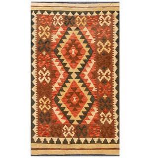 Handmade One-of-a-Kind Wool Kilim (Afghanistan) - 3'3 x 5'6