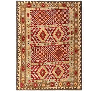 Herat Oriental Afghan Hand-woven Tribal Wool Kilim (4'10 x 6'8)
